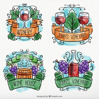 Several watercolor wine labels