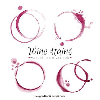 Several watercolor wine stains