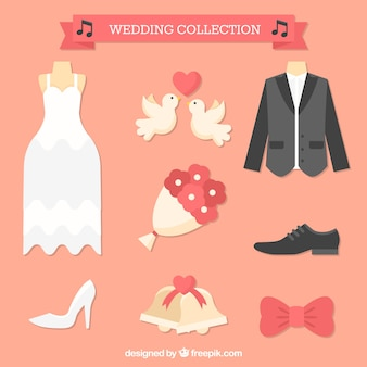 フラットデザインのいくつかの結婚式の要素