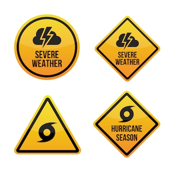 Severe weather alert. hurricane season. warning signs labels.