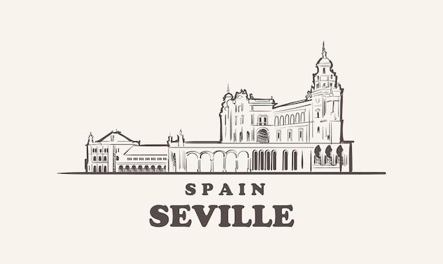 세비야 도시 풍경 스케치 손으로 그린 스페인 그림