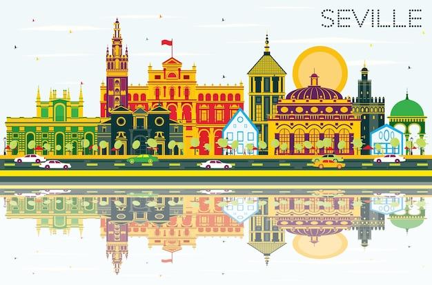 색상 건물, 푸른 하늘 및 반사와 세비야 스카이 라인. 벡터 일러스트 레이 션. 역사적인 건물과 비즈니스 여행 및 관광 개념입니다. 프레젠테이션 배너 현수막 및 웹사이트용 이미지.