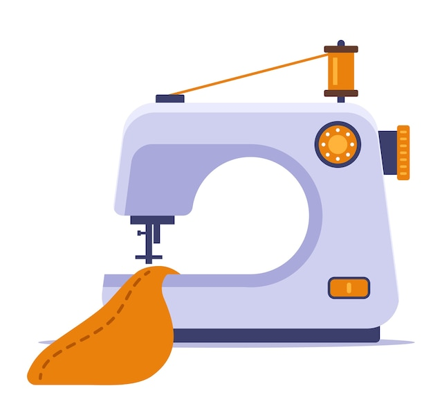 Sew a dress on a sewing machine  illustration isolated on white background.
