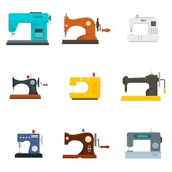 Sew machine icon set