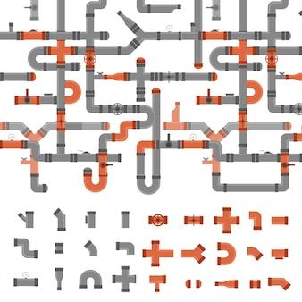 하수도 파이프 커넥터 및 밸브 마녀 요소 설정 배경 패턴 산업 요소 다른 모양입니다. 벡터 일러스트 레이 션