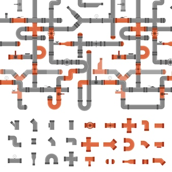 Sewer pipe connector and valve witch element set background pattern industrial elements different shapes. vector illustration