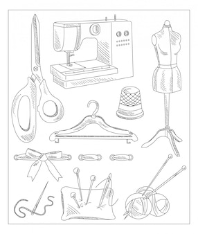 Sewing accessories in handdrawn style