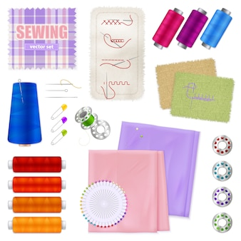 Sewing accessories realistic set