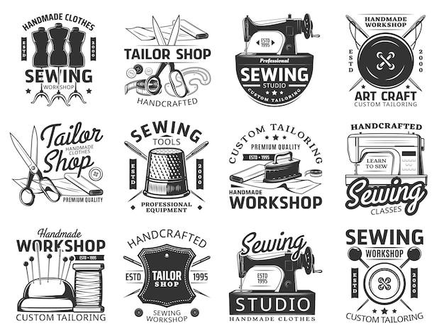 縫製と仕立てのアイコン仕立てサービスとツール
