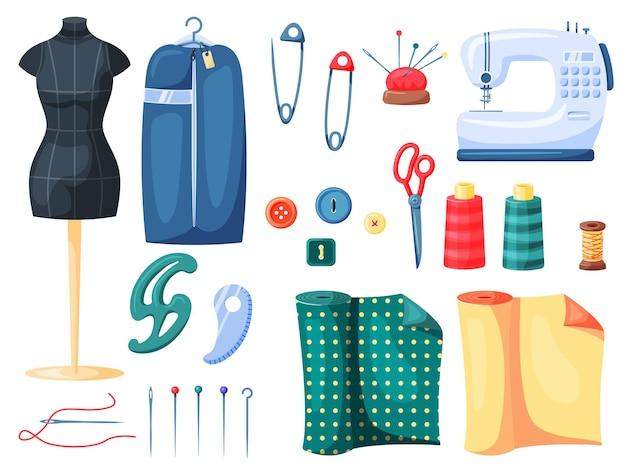 針仕事、洋裁用の縫製と仕立ての供給セット。マネキンダミー、ピン、はさみ、糸スプール、白い背景で隔離のさまざまな針細工職人技ツールベクトル図