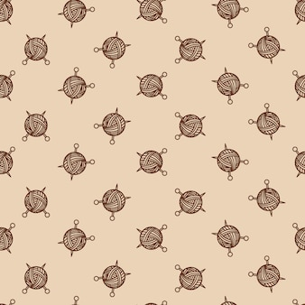 Sewing beige color seamless pattern with tangle and spokes. yarn ball and sewing needles vector illustration