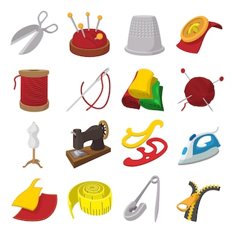 Sewing cartoon icon isolated vector