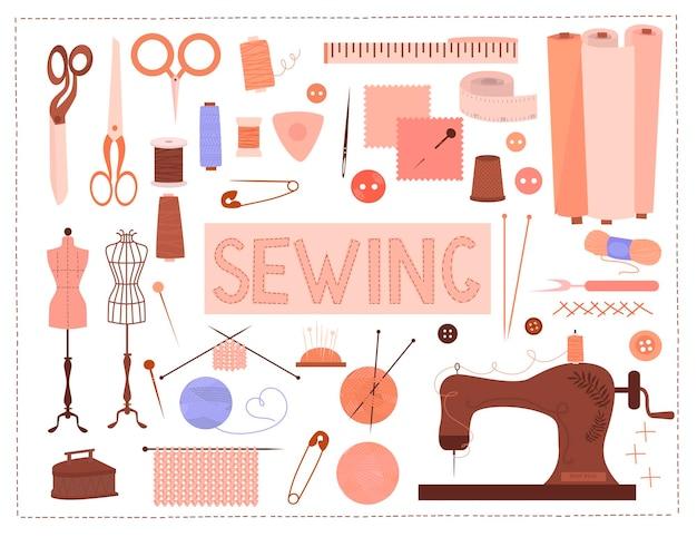 Швейная коллекция. инструменты и материалы для шитья и рукоделия.