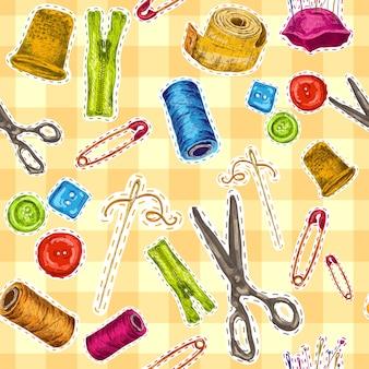 Abbigliamento per cucire e accessori per il lavaggio schizzo illustrazione vettoriale senza soluzione di pattern