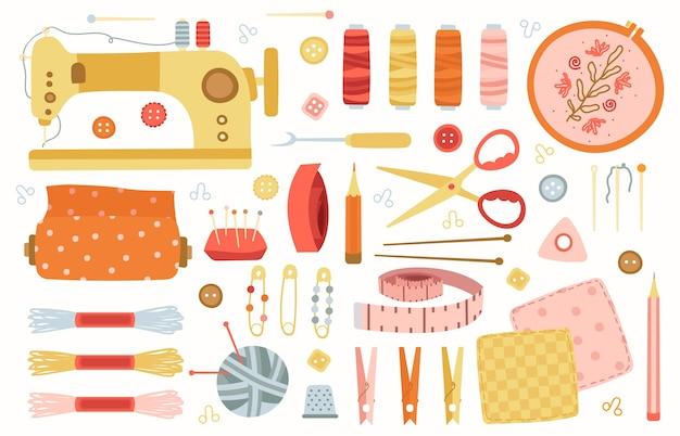 Швейные элементы. рукоделие ручной работы хобби инструменты, шитье, рукоделие, аксессуары для вязания, машина, иглы и ножницы набор иллюстраций. оборудование ручной работы, рукоделие и шитье