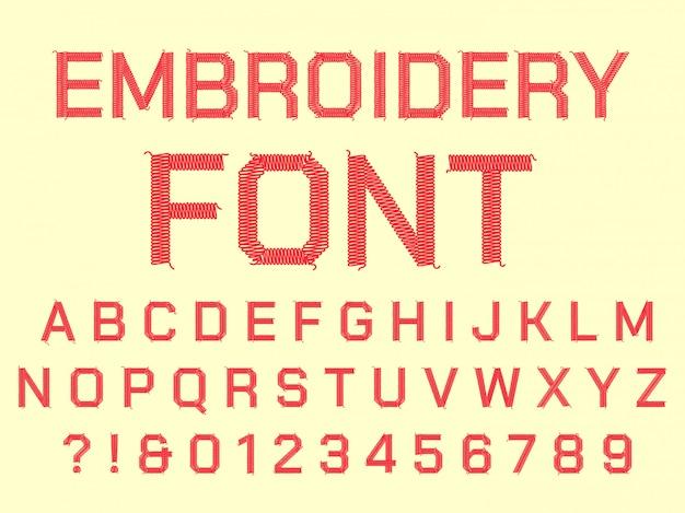 봉제 자수 알파벳입니다. 직물 자수 문자, 빈티지 섬유 글꼴 및 직물 바느질 스레드 문자 기호 세트