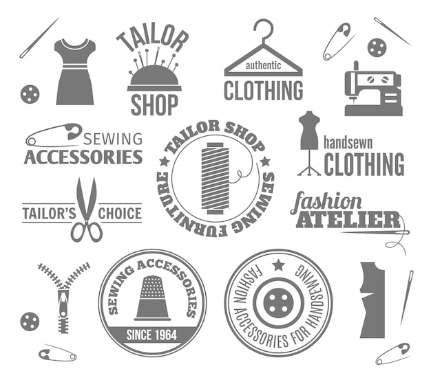 Sewing equipment labels, logos and badges set