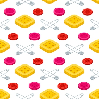 Sewing equipments, safety pins and buttons seamless pattern