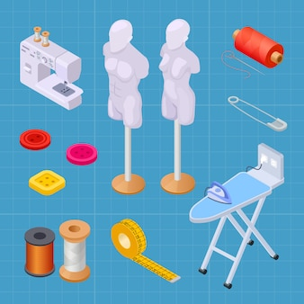 Sewing factory isometric set, sewing equipments vector collection