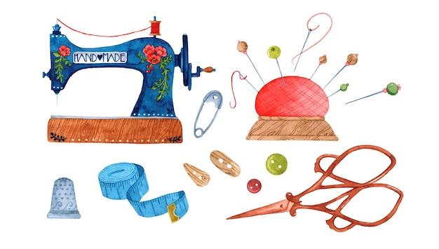 바느질 손으로 만든 수채화 요소