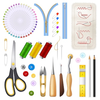 Sewing isolated icons set