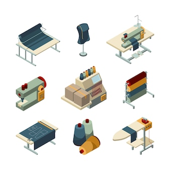 Sewing isometric. garment embroidery production textile manufacturing pictures set