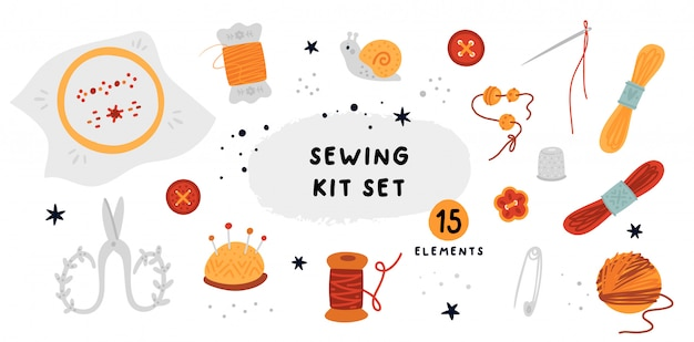 Sewing kit set: thread, embroidery, scissors, ball of string, needles, pins, thimble, buttons, embroidery floss