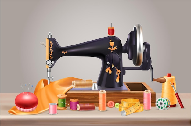 Sewing machine background with needles cushion and centimeter realistic illustration