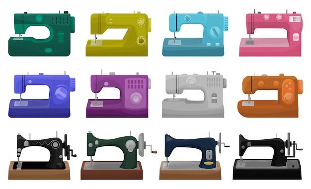 白い背景の上のミシンのイラスト。漫画は、縫うためのアイコンツールを設定します。漫画セットアイコンミシン。