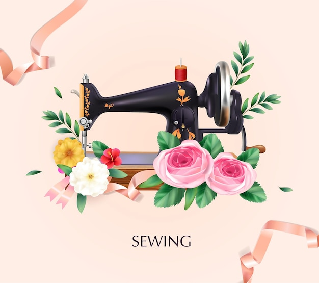 Sewing machine illustration with flowers and ribbons