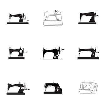 ミシンベクトルセット。シンプルなミシンの形のイラスト、編集可能な要素、ロゴデザインに使用できます