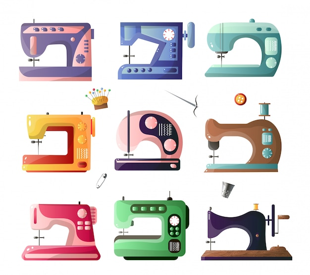 Sewing machines with different options set isolated on white background
