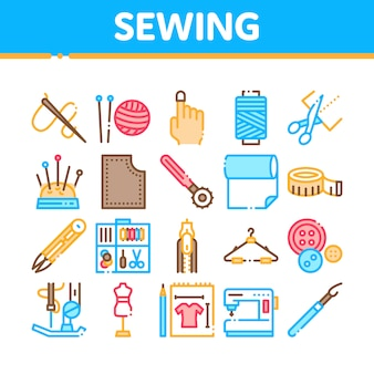 Sewing and needlework collection icons set
