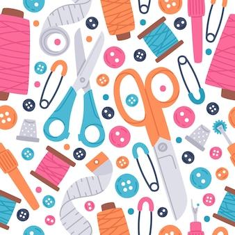 Sewing needlework hand drawn vector seamless pattern