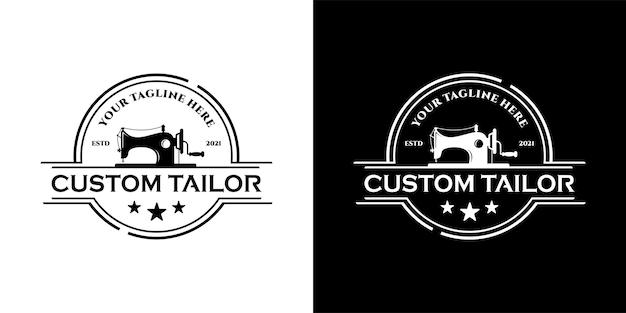 Sewing old machine, vintage tailor logo design template inspiration