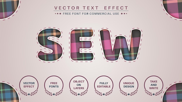 Sewing pattern  edit text effect font style
