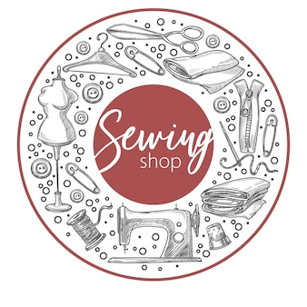 Sewing shop materials and equipment for hobby