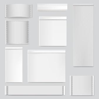 縫製ステッチ。繊維の白いタグ、ステッチの生地サイズラベル、衣類縫製ラベルイラストアイコンセット。テキスタイルタグファブリック、シームラベル、リアルな素材