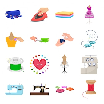 Sewing studio  cartoon set icon. fashion cartoon set icon.  sewing studio  .