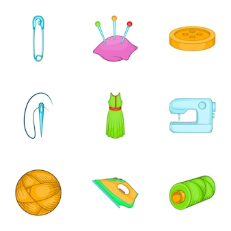 Sewing supplies icons set, cartoon style