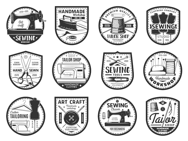 Sewing and tailor icons, threads, needles, buttons