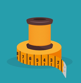 Sewing thread with tape measure  isolated icon design