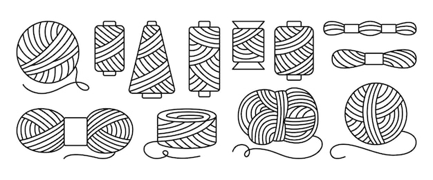 Sewing threads or yarn black line set, spool and bobbin outline. dressmaking needlework tools, sewing workshop, tailoring hobby knitting, weaving wool