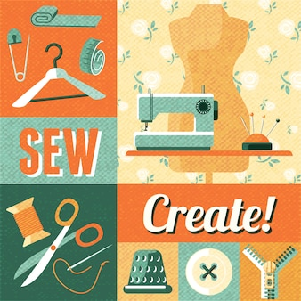 Sewing vintage decoration collage background