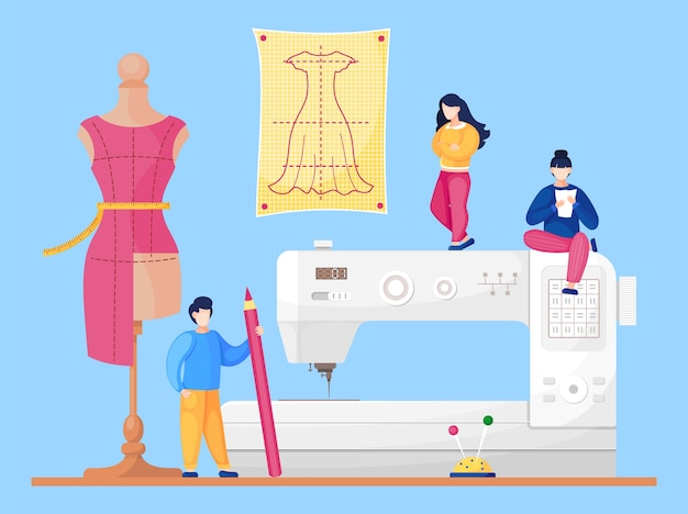 Sewing workshop with designers at sewing machine background.
