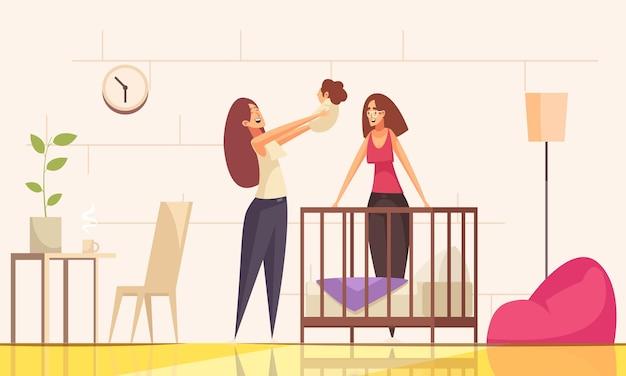 Composizione familiare del bambino lesbico omosessuale sessuale con personaggi femminili di genitori e bambino con illustrazione dell'ambiente interno