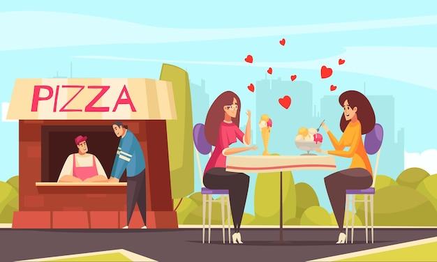 Секс-гомосексуальная лесбийская композиция с открытой площадкой и двумя персонажами женского пола на свидании с сердечками