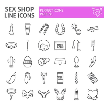 Sex shop line icon set, sex toys collection