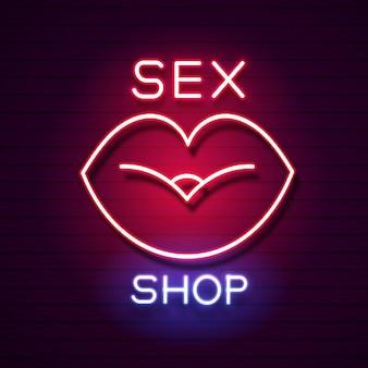 Секс-шоп неоновая вывеска. баннер магазина для взрослых. векторная иллюстрация