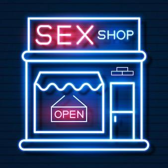 Секс-шоп сейчас неоновая вывеска. готовы для вашего дизайна, поздравительной открытки, баннера. векторные иллюстрации.